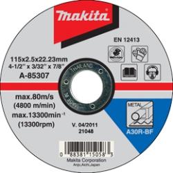 Rezný kotúč na železo 115x2.5x22 (plochý) MAKITA A-85307